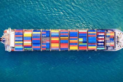 A ship carries containers